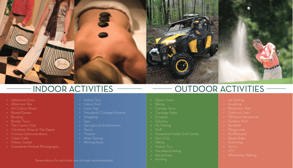 Activities Brochure inside