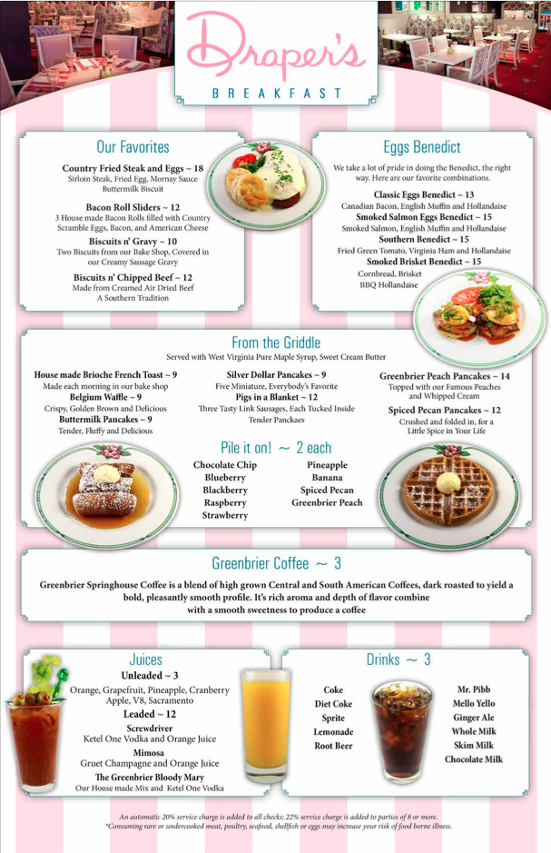 Draper's Breakfast menu