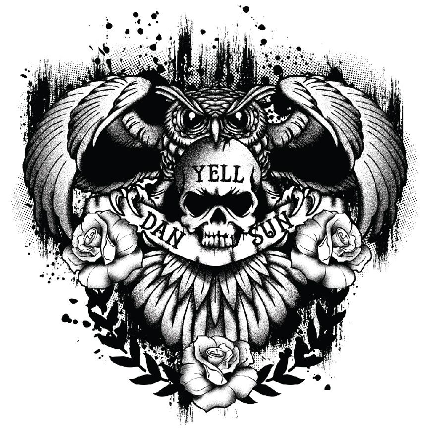 Dan Yell Sun Tshirt Owl Skull design